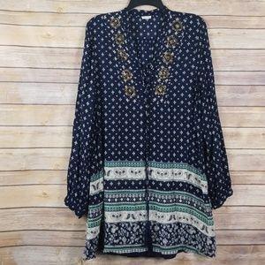 En Creme| Bohemian long sleeve dress with tassels